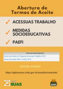 Abertura do Termo de Aceite - Acessuas Trabalho 2018