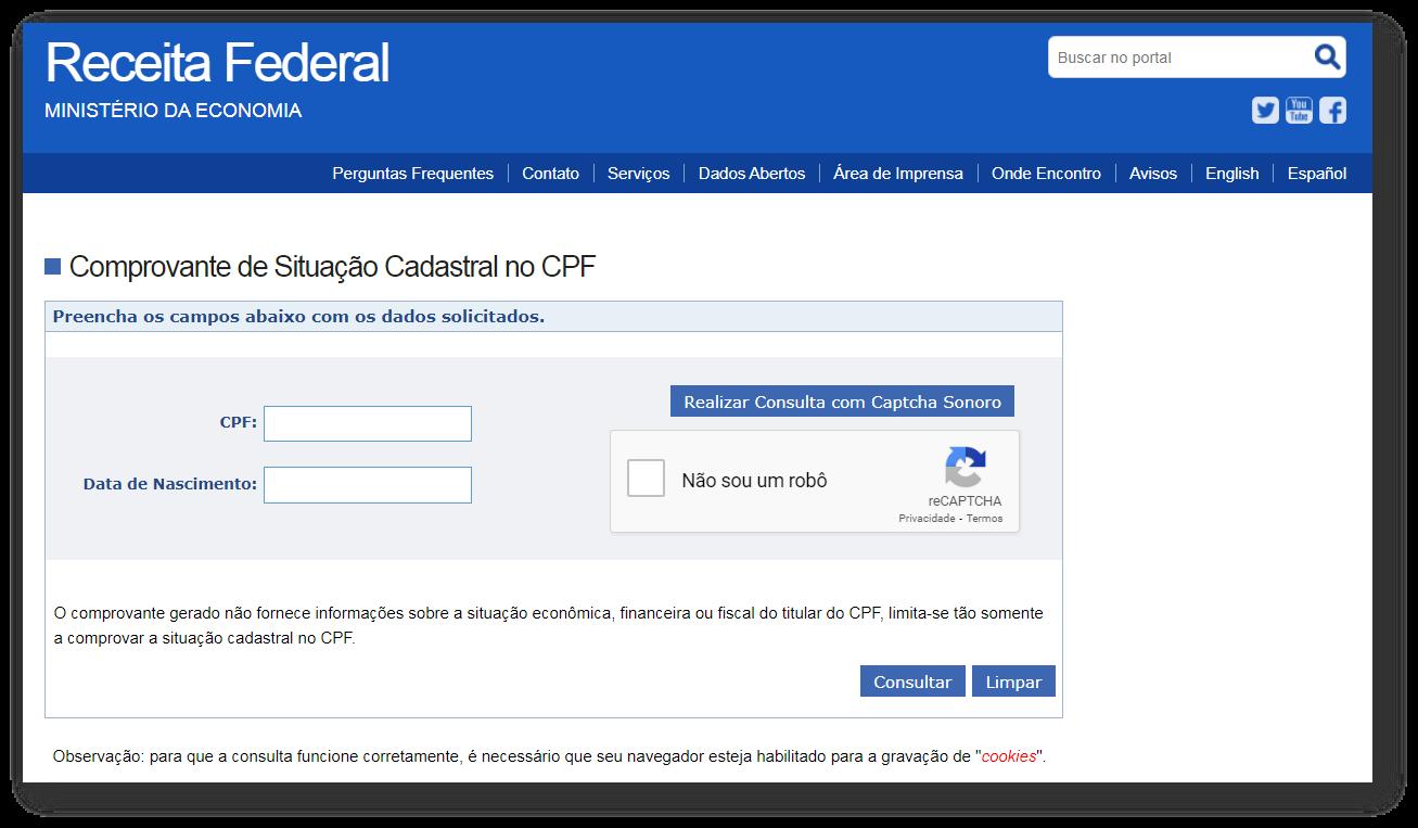 Consulta CPF site Receita Federal